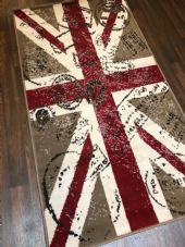NOVELTY RANGE 80X150CM STAMPED UNION JACK RUGS/MAT TOP QUALITY BEIGE/BROWN/RED